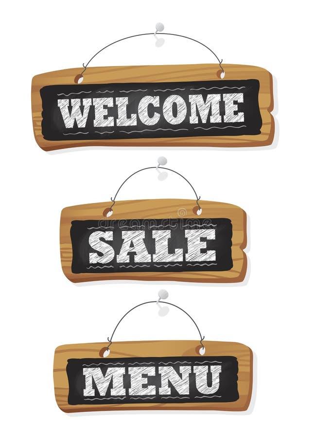 Lavagne messe appendere nella parete - cha di benvenuto, di vendita e del menu illustrazione di stock