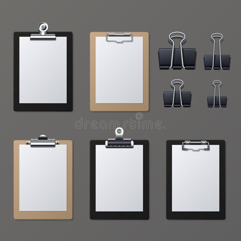 Lavagne per appunti realistiche con lo strato in bianco del Libro Bianco Illustrazione di vettore del bordo di informazioni del b royalty illustrazione gratis