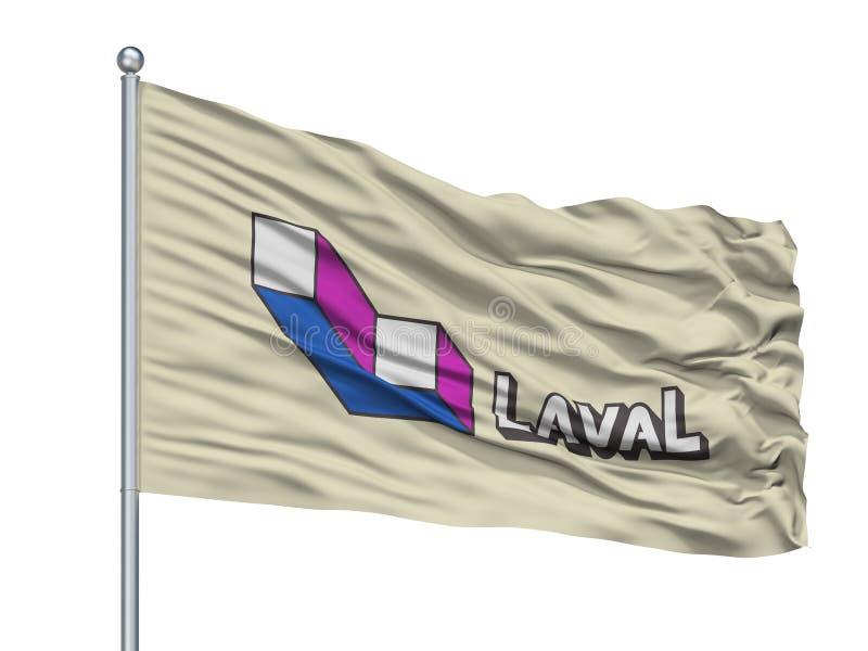 Laval City Flag On Flagpole, provincia de Canadá, Quebec, aislada en el fondo blanco stock de ilustración