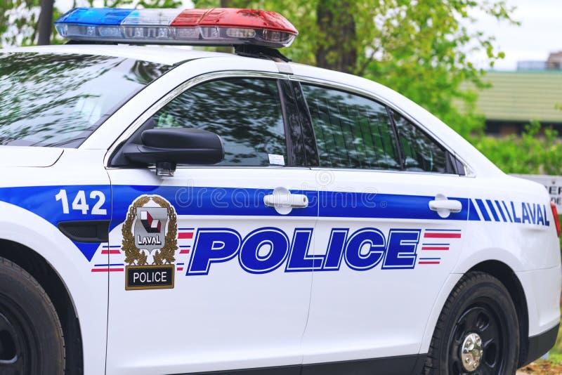 Laval Kanada: Maj 19, 2018 Den härliga bilen av den kanadensiska polisen är royaltyfri fotografi