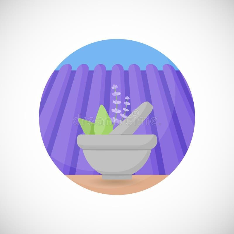 Lavanda en icono plano del mortero y de la maja ilustración del vector