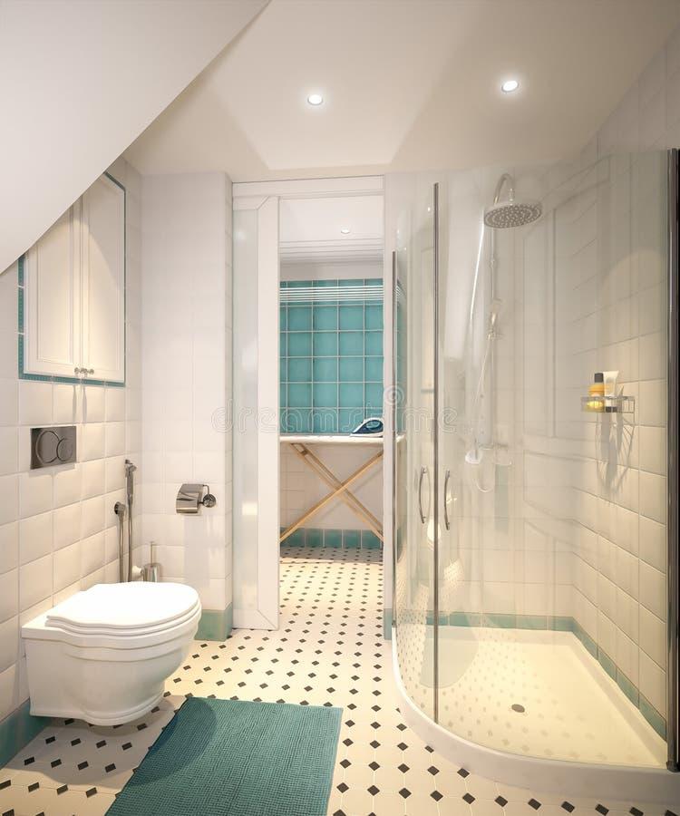 Lavandaria e banheiro tradicionais clássicos brilhantes fotografia de stock