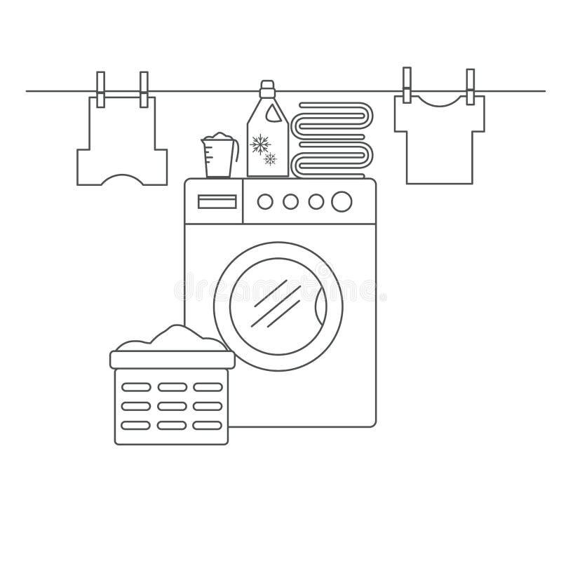 Lavandaria para lavar e secar artigos Lavandaria com máquina de lavar, linhos e facilidades da lavanderia ilustração stock