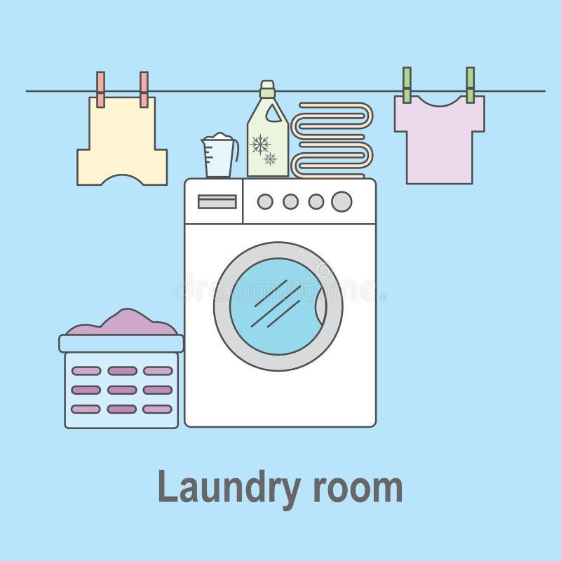 Lavandaria para lavar e secar artigos Lavandaria com máquina de lavar, linhos e facilidades da lavanderia ilustração do vetor