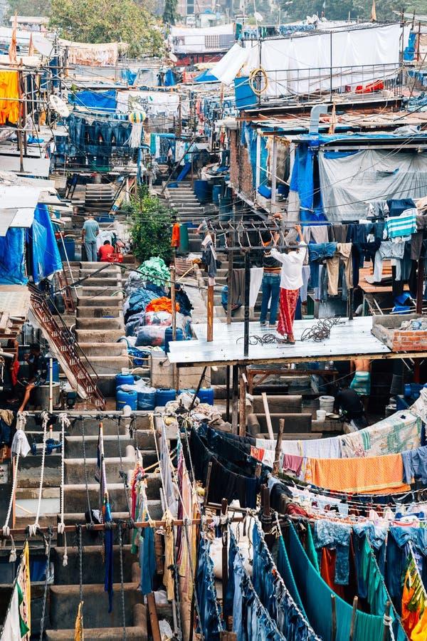 Lavandería del aire abierto del ghat de Dhobi en Bombay, la India imagen de archivo libre de regalías