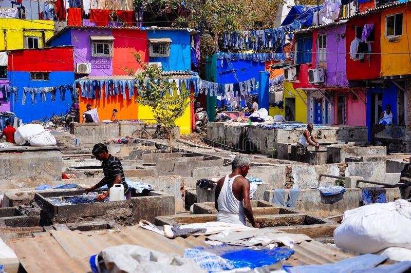 Lavandería del ghat de Dhobi en Bombay, la India fotografía de archivo