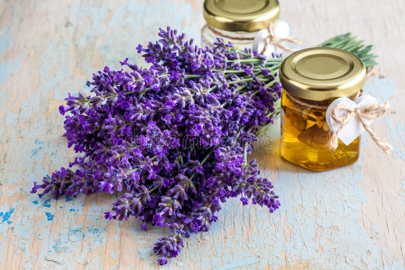 Lavander with aromatic oil royalty free stock image