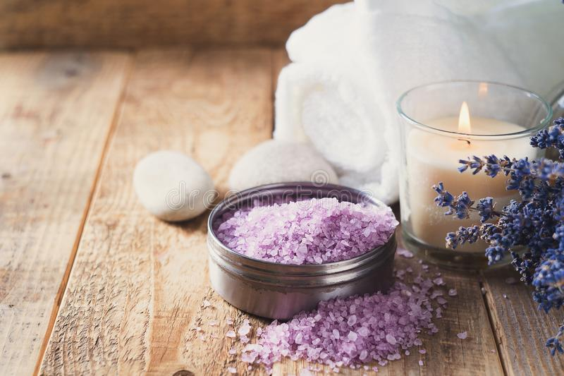 Lavander salt with natural spa products and decor for bath royalty free stock photos