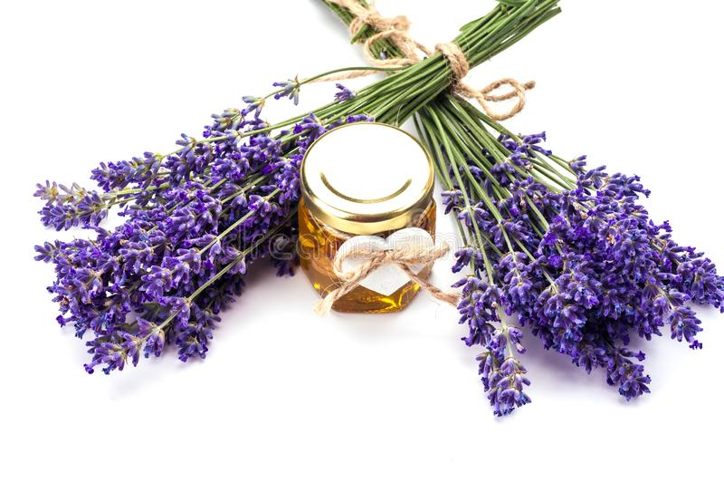 Lavander z aromatycznym olejem obrazy stock