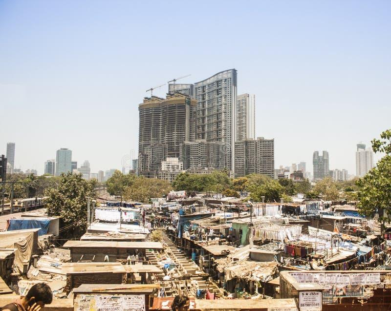 Lavanderia de Dhobi Ghat, Mumbai, Índia imagem de stock
