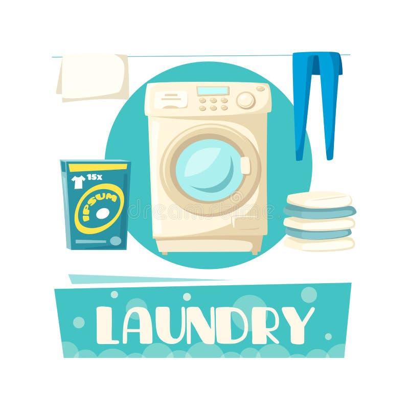Lavanderia do vetor e máquina de lavar e linho ilustração do vetor