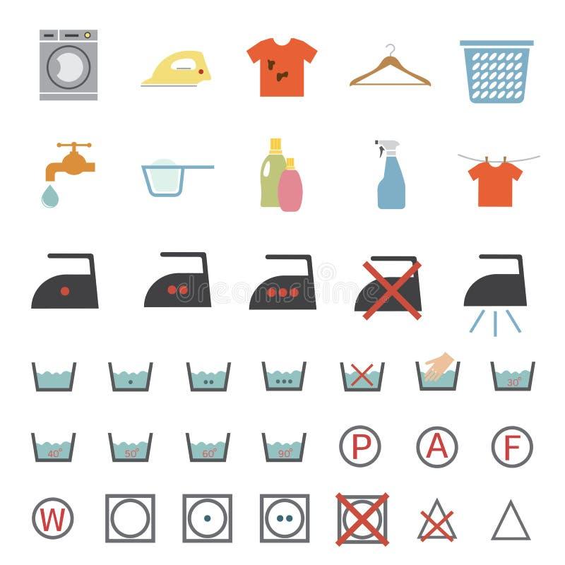 Lavanderia e ícone de lavagem ilustração do vetor