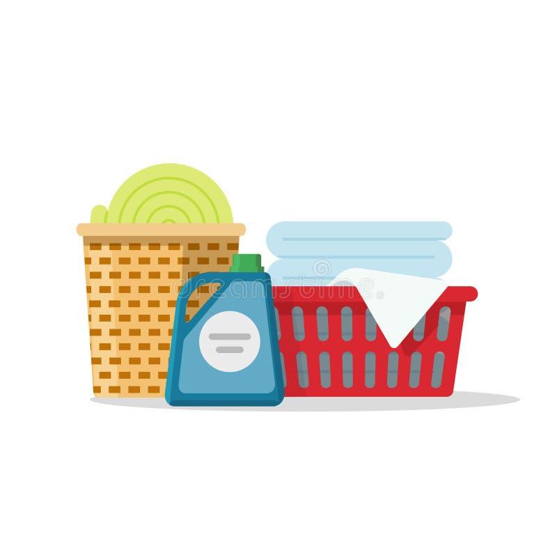 A lavanderia em cestas vector a ilustração, pilha de linho para lavar, toalhas da caixa lisa dobradas ilustração stock