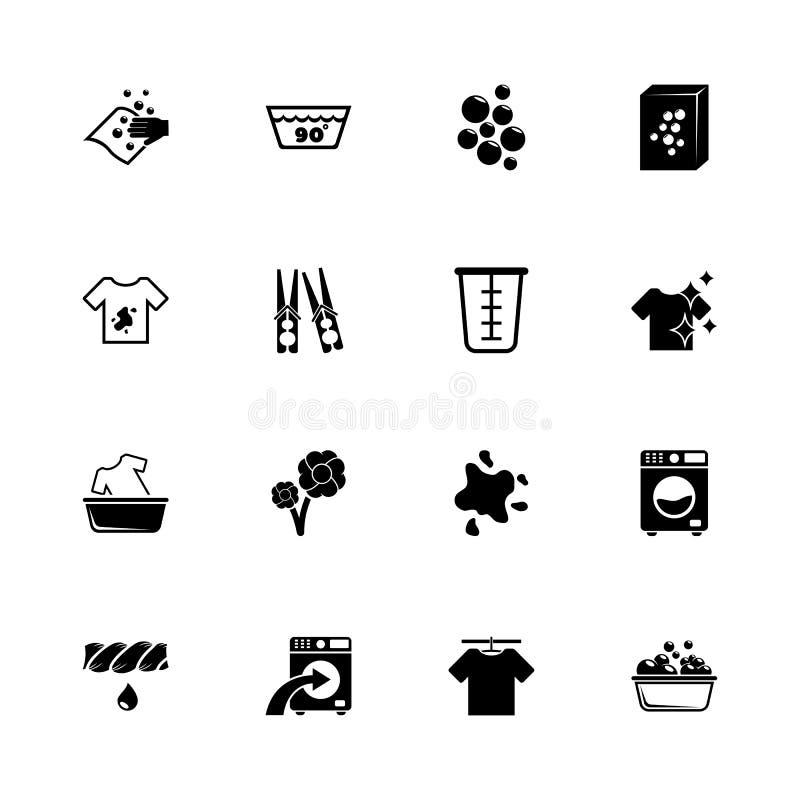 Lavanderia - icone piane di vettore illustrazione di stock