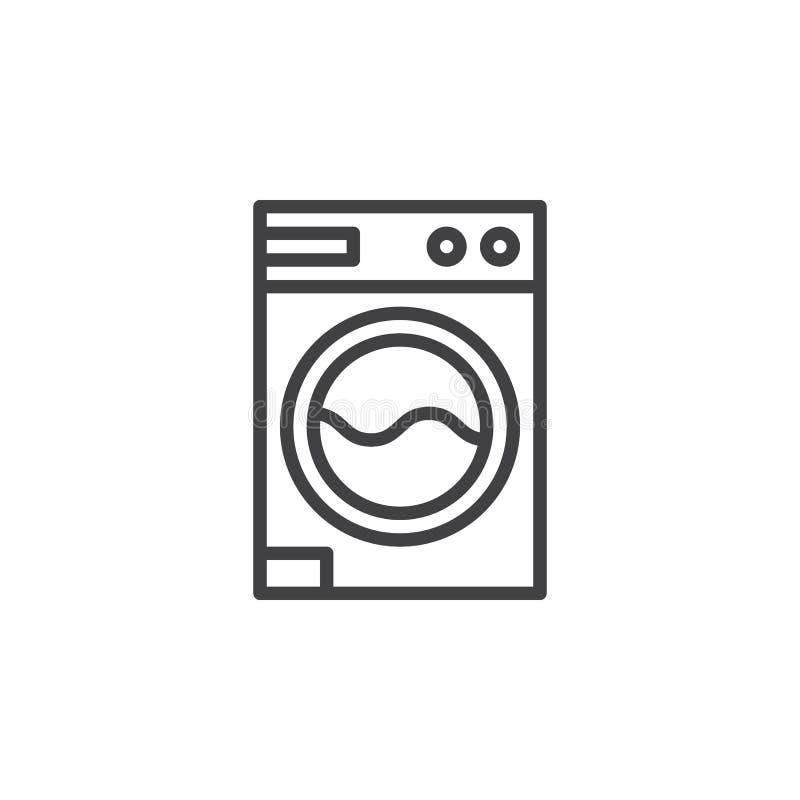 Lavanderia, linha ícone da máquina de lavar ilustração stock