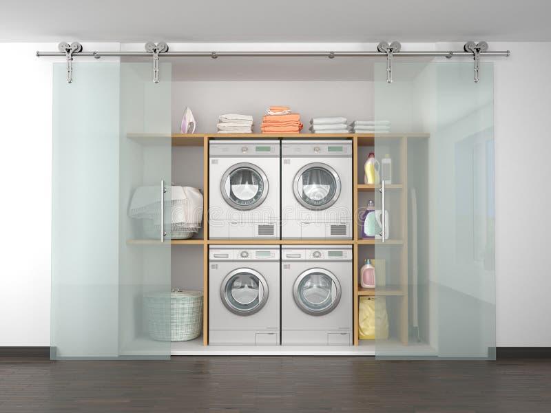 Lavanderia nella dispensa Rondella ed essiccatore fotografia stock