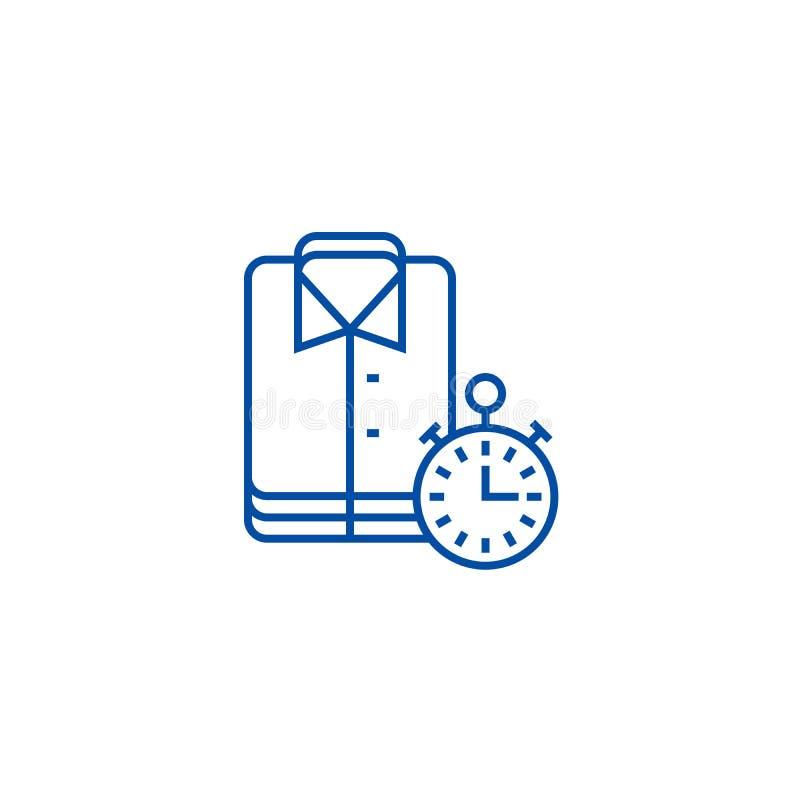 Lavanderia, panos de limpeza, linha de limpeza expressa conceito do ícone Lavanderia, panos de limpeza, símbolo liso de limpeza e ilustração stock