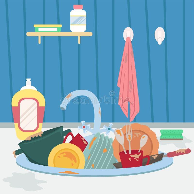 Lavandino di cucina con i piatti e l'asciugamano sporchi housework illustrazione vettoriale