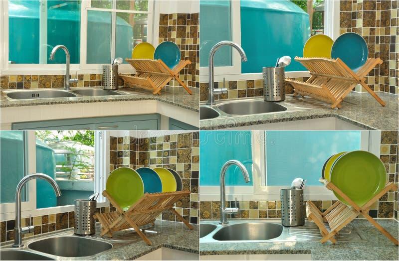 Lavandino di cucina con lo scolapiatti di legno immagine for Piatti di cucina