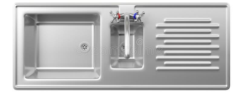 Lavandino di cucina dell'acciaio inossidabile e rubinetto di acqua isolato su fondo bianco, vista superiore illustrazione di stock