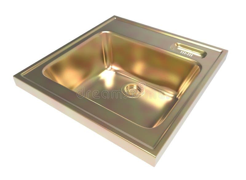 Lavandino di cucina isolato su fondo bianco Di facile impiego Metall housework illustrazione 3D royalty illustrazione gratis
