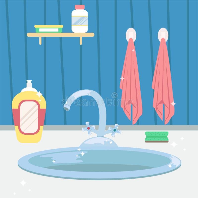 Lavandino di cucina pulito housework Illustrazione piana di vettore di stile del fumetto illustrazione di stock