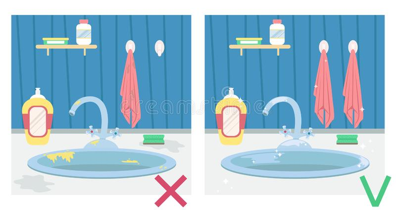 Lavandino di cucina sporco e lavandino pulito Illustrazione prima e dopo housework illustrazione vettoriale
