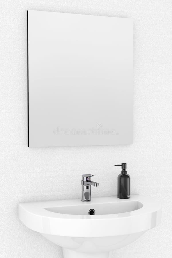 Lavandino e specchio ceramici illustrazione di stock