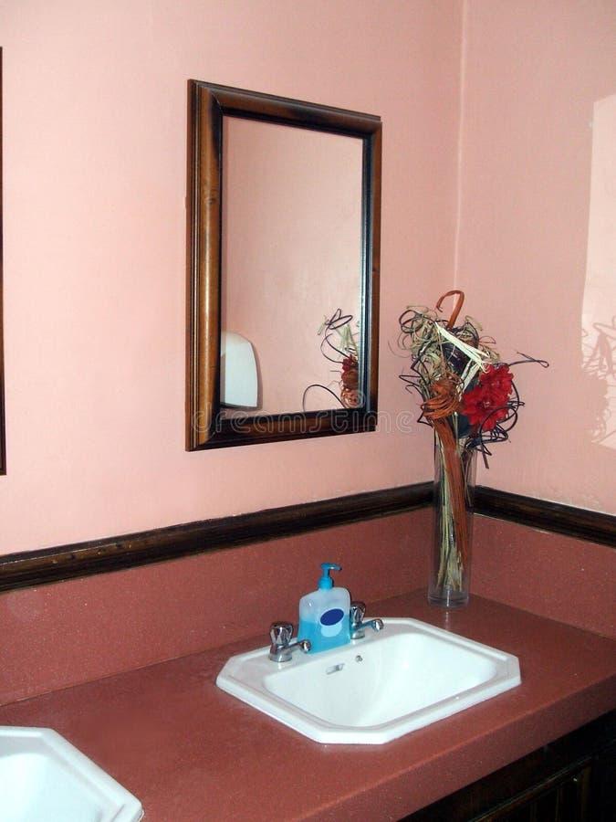 Lavandino, rubinetti, specchio e vaso del lavabo del bagno fotografia stock