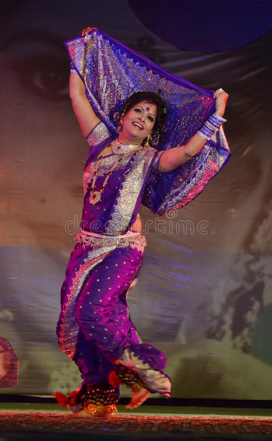 Lavani, famous tradition dance or Maharashtra state, India. A Dancer perform Lavani, famous tradition dance of Maharashtra state, India. this is a very royalty free stock photography