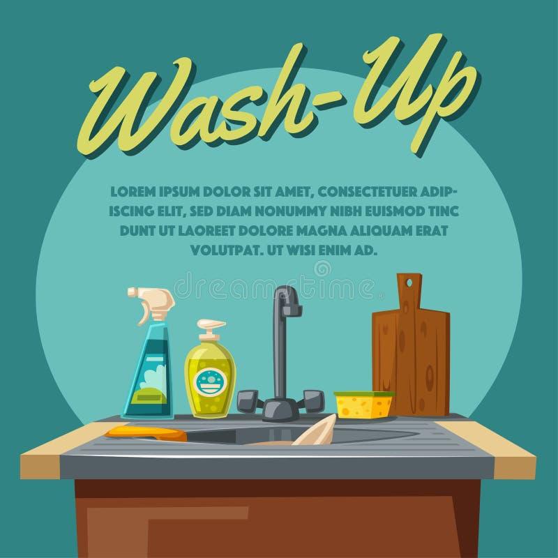 Lavaplatos y limpieza con el fregadero y la esponja del jabón Ilustración del vector de la historieta ilustración del vector
