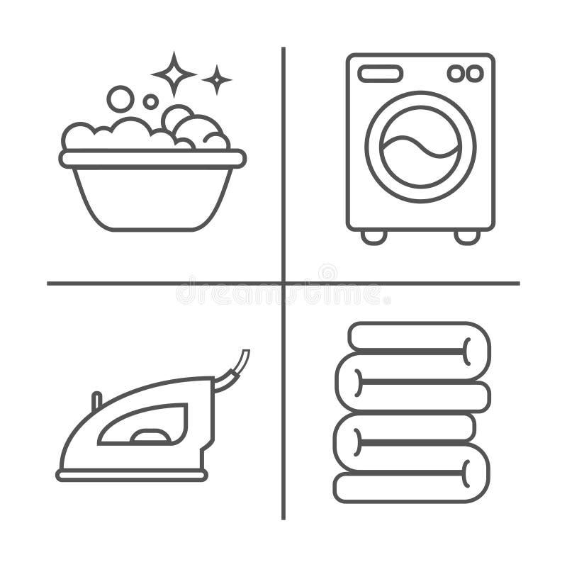 Lavar, passando, limpa a linha ícones da lavanderia A máquina de lavar, ferro, handwash e o outro ícone clining Ordem no sinal li ilustração stock