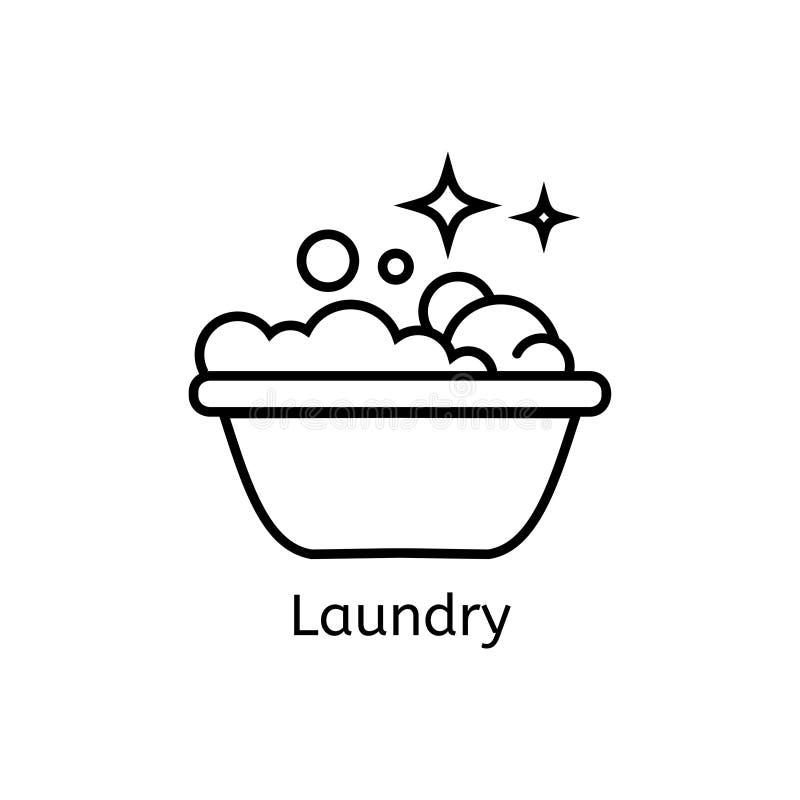 Lavar, passando, limpa a linha ícones da lavanderia A máquina de lavar, ferro, handwash e o outro ícone clining Ordem no sinal li ilustração royalty free