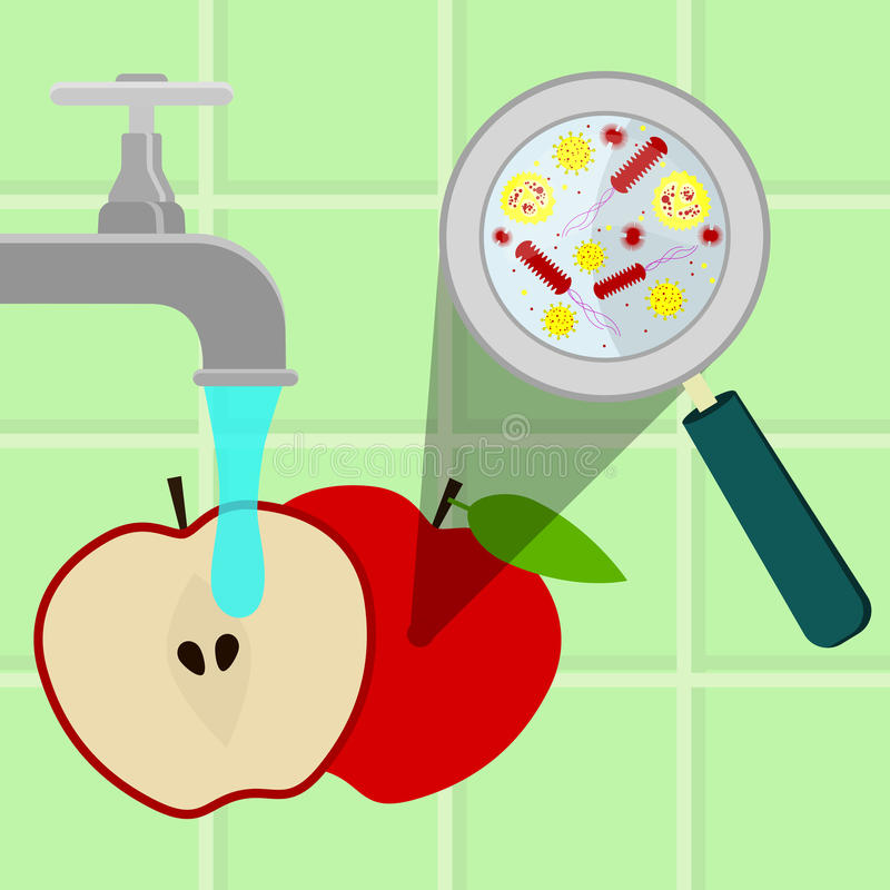 Lavare mela contaminata illustrazione vettoriale