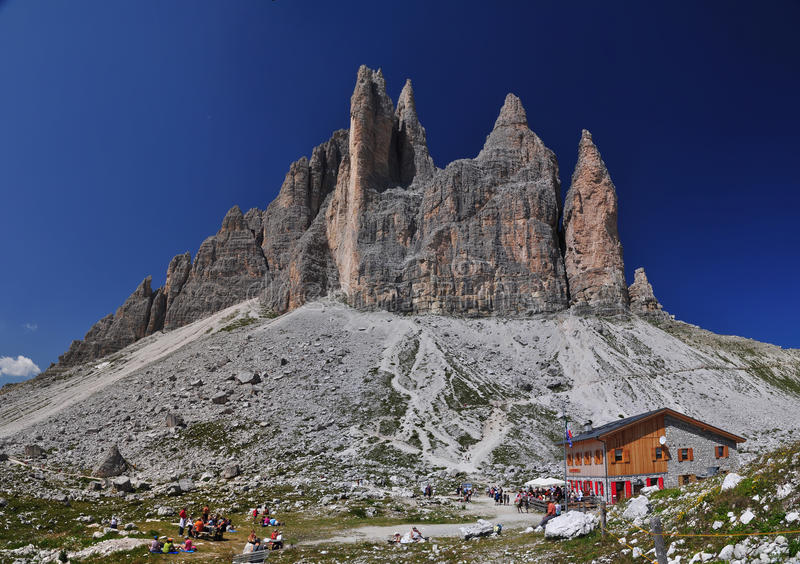 Lavaredo chalet in Dolomites Mountains stock photography