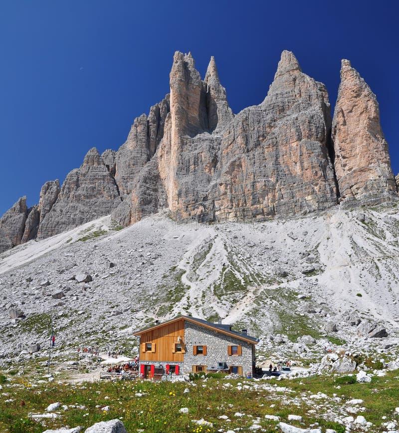 Lavaredo chalet in Dolomites Mountains royalty free stock photo