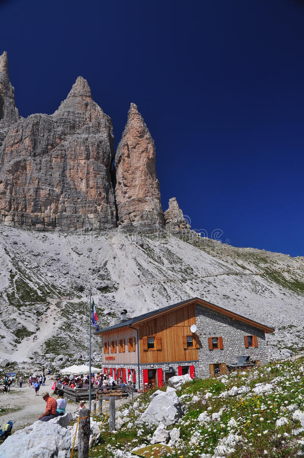Lavaredo chalet in Dolomites Mountains royalty free stock photography