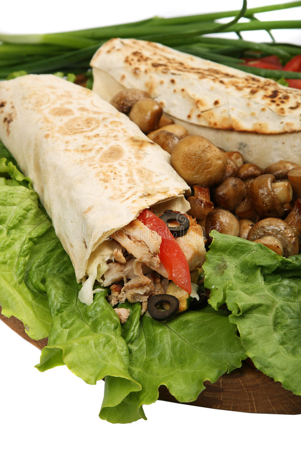 Lavash. White fastfood isolated green royalty free stock image