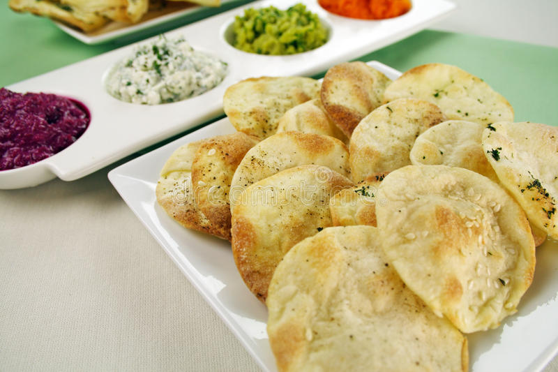 Lavash Bread And Dips stock photography
