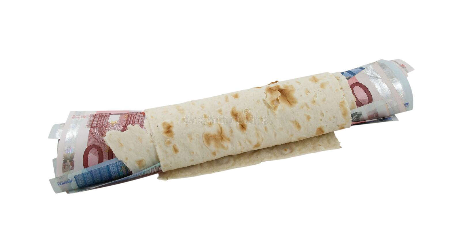 Lavash with euro banknotes stock photo
