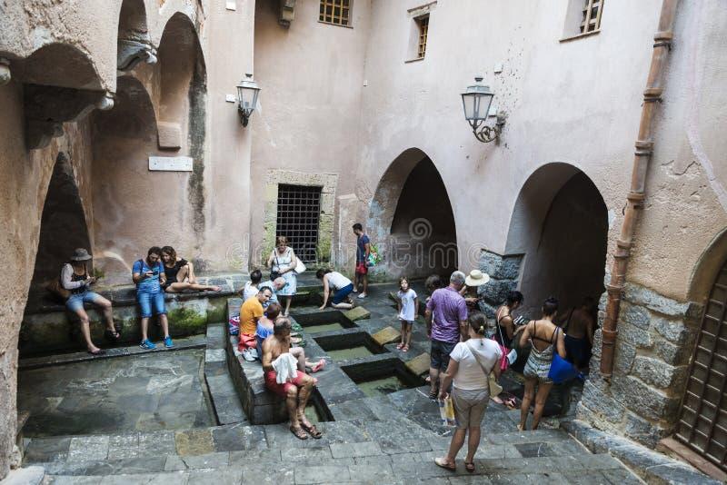 Lavatoio, ένα μεσαιωνικό πλυντήριο, σε Cefalu στη Σικελία, Ιταλία στοκ εικόνες