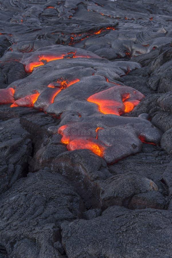 Lave débordante en Hawaï image libre de droits