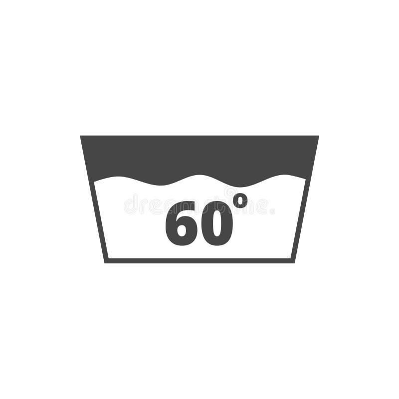 Lave o ícone, máquina lavável em 60 graus de symbol7 ilustração stock