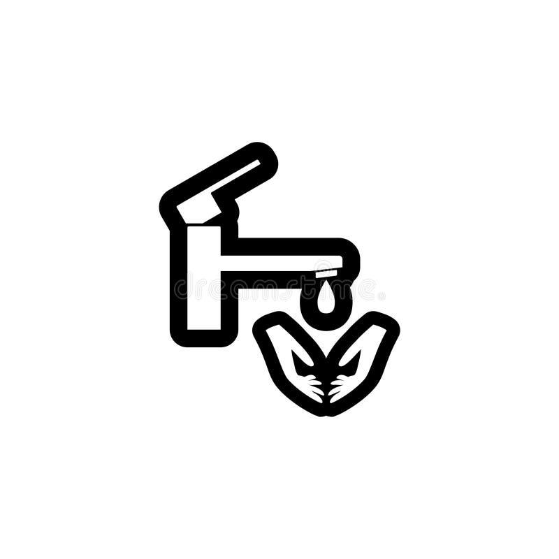 Lave seu ?cone ou sinal das m?os ilustração do vetor