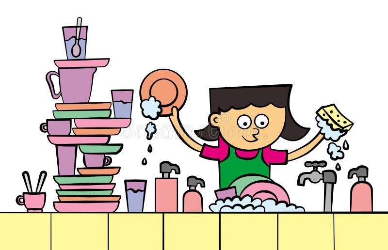 Lave-vaisselle illustration libre de droits