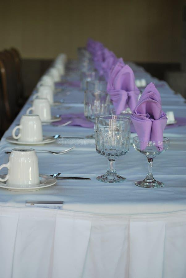 Lavendar Table Setting lizenzfreies stockbild