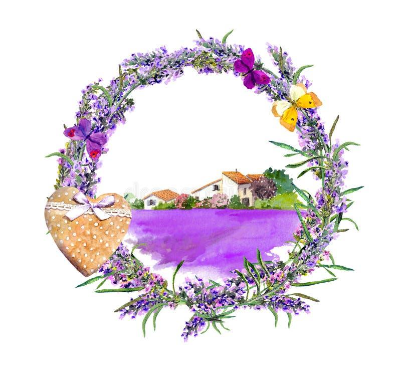 Lavendel blommar, fjärilar, hjärta, den fridsamma platsen - byhuset, lavendelfält Vattenfärgetikett i tappning royaltyfri illustrationer