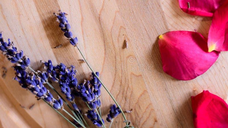 Lavendel blommar med röda roskronblad på wood bakgrund royaltyfri bild