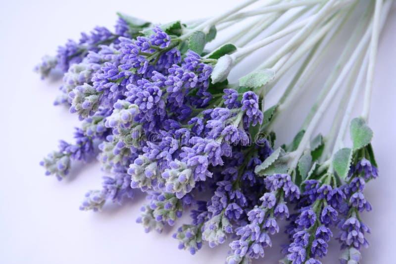 Lavendel, der auf Tabelle liegt stockfotografie