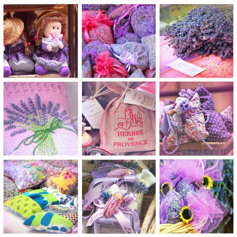 Lavendel för försäljning på provencal marknad arkivfoto